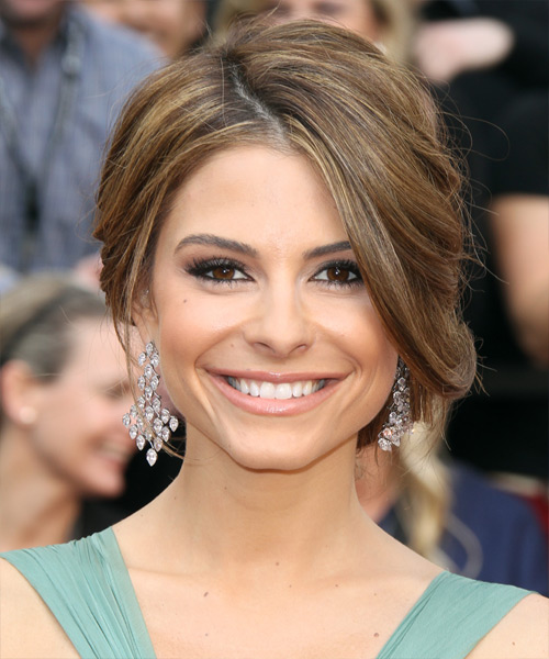 Maria Menounos  Long Straight   Light Brunette  Updo    with Light Blonde Highlights