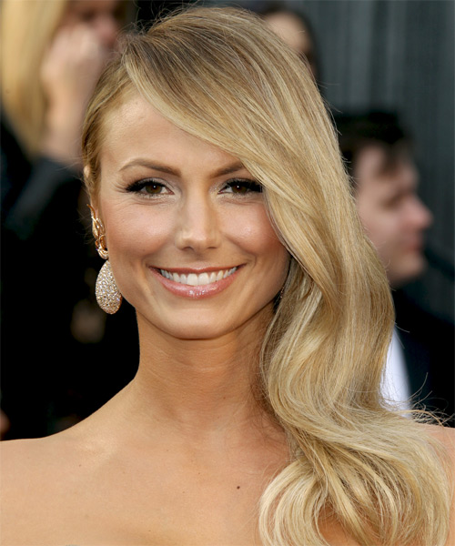 Stacy Keibler Long Wavy Formal    Hairstyle with Side Swept Bangs  -  Honey Blonde Hair Color with Light Blonde Highlights