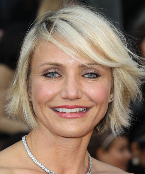Cameron Diaz Short Straight Casual Hairstyle With Side Swept Bangs Light Blonde Platinum