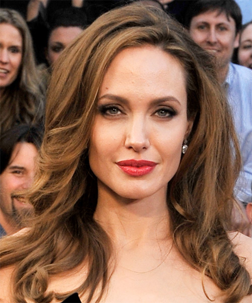 Angelina Jolie Long Wavy Casual    Hairstyle   -  Brunette Hair Color with Light Brunette Highlights