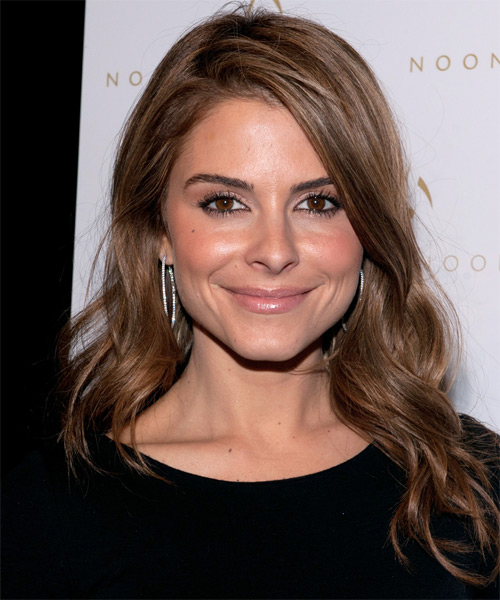 Maria Menounos Long Wavy Casual    Hairstyle   - Light Chocolate Brunette Hair Color