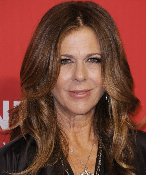 Rita Wilson Long Wavy Formal   Hairstyle   - Medium Brunette