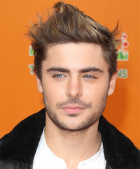 Zac Efron Short Straight Alternative    Hairstyle   - Light Brunette Hair Color with Dark Blonde Highlights