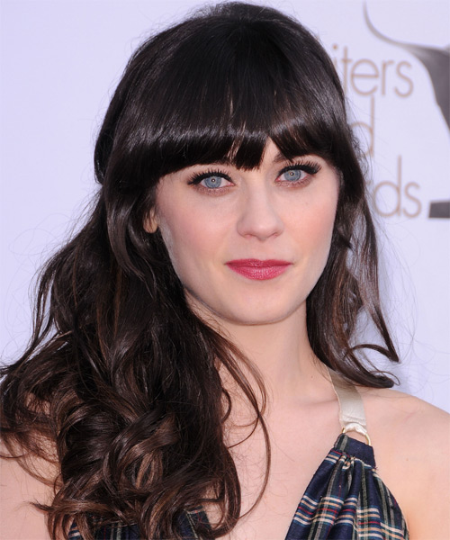 Zooey Deschanel Long Wavy   Mocha   Hairstyle with Blunt Cut Bangs