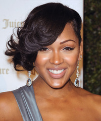 Meagan Good Short Wavy Formal    Hairstyle   - Black  Hair Color
