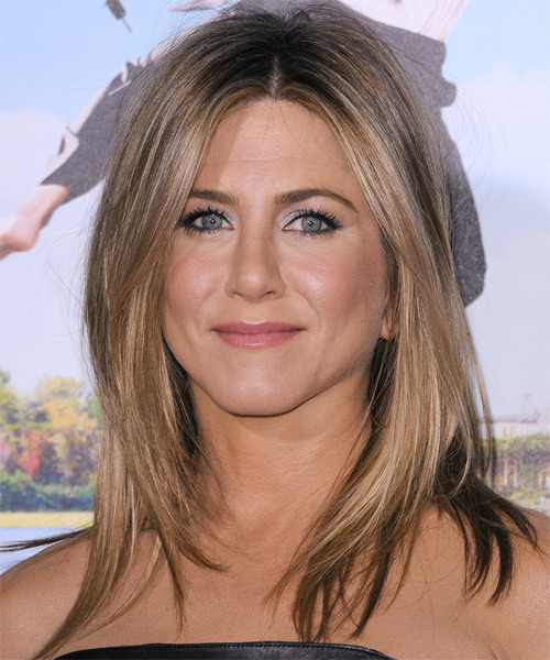 Jennifer Aniston Medium Straight Casual    Hairstyle   - Dark Blonde Hair Color with Medium Blonde Highlights