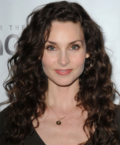 Alicia Minshew Long Curly Casual    Hairstyle   - Dark Chocolate Brunette Hair Color