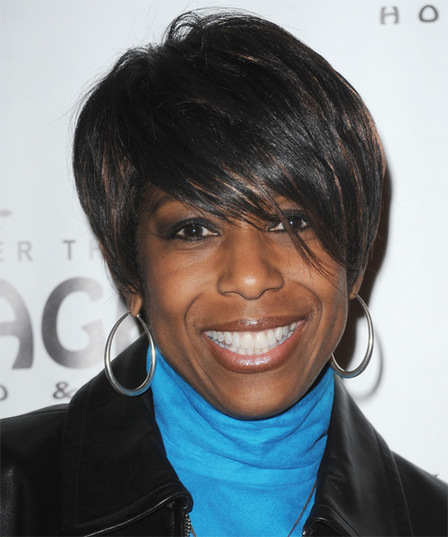 Dawnn Lewis  Short Straight Casual    Hairstyle with Side Swept Bangs  - Black  Hair Color