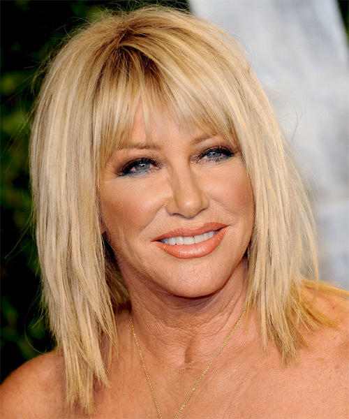 Suzanne Somers Medium Straight   Light Golden Blonde   Hairstyle with Layered Bangs