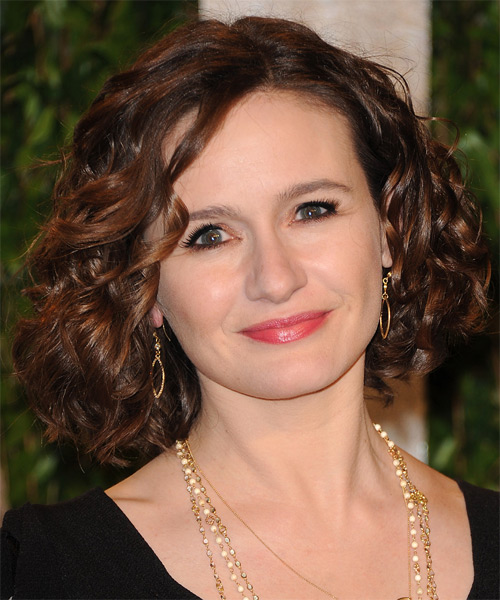 Emily Mortimer Medium Curly Casual    Hairstyle   - Dark Auburn Brunette Hair Color with  Brunette Highlights