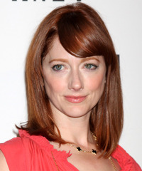 Judy Greer Medium Straight   Dark Auburn Red   Hairstyle with Side Swept Bangs