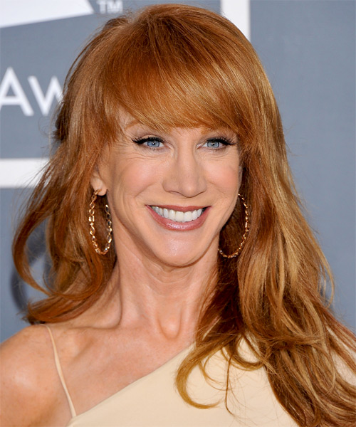 Kathy Griffin Long Straight Formal   Hairstyle with Side Swept Bangs  - Light Red (Ginger)