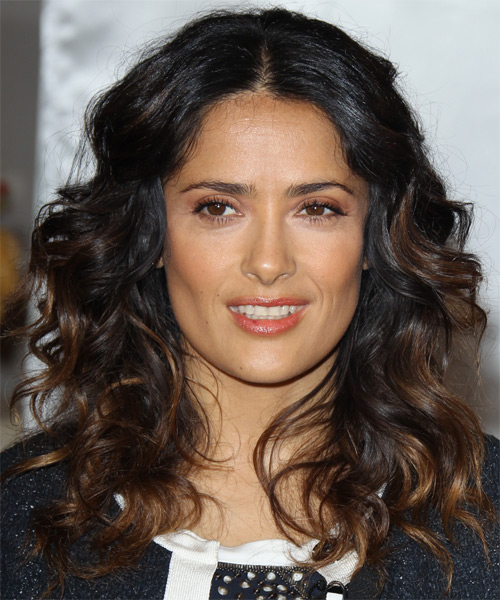 Salma Hayek Long Curly Casual    Hairstyle   - Black Mocha  Hair Color with  Brunette Highlights