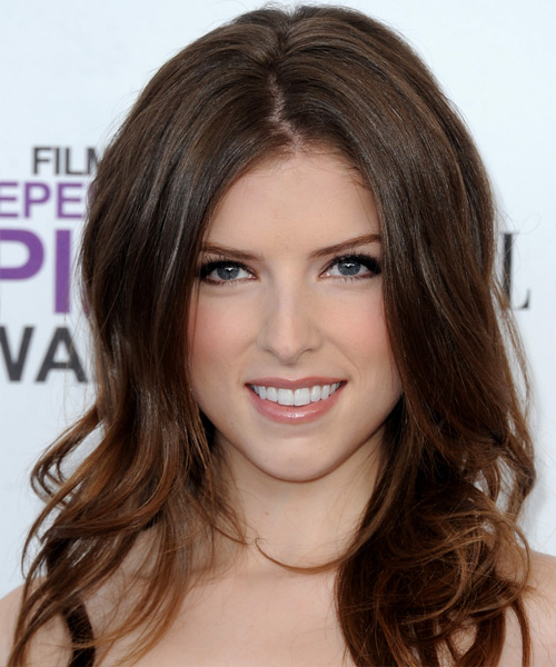 Anna Kendrick Long Straight Formal    Hairstyle   - Chocolate Hair Color