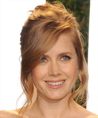 Amy Adams  Long Straight Formal   Updo Hairstyle with Side Swept Bangs  -  Ginger Red Hair Color