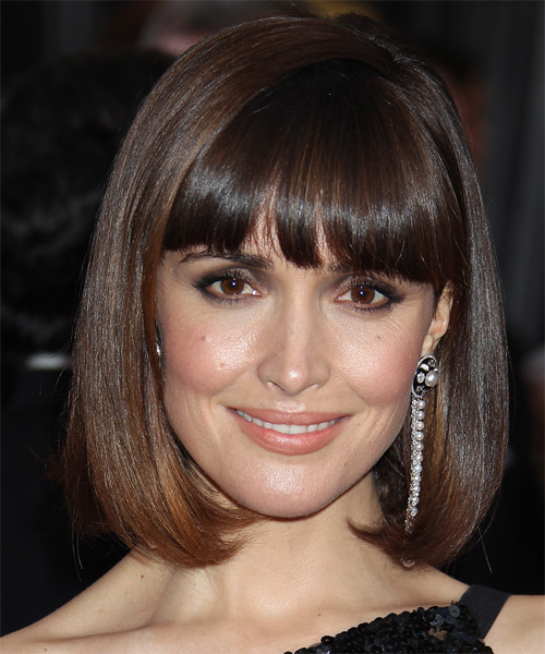 Rose Byrne Medium Straight Formal Bob  Hairstyle with Blunt Cut Bangs  (Chocolate)