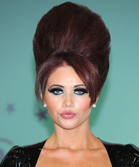 Amy Childs Long Straight Alternative  Emo Updo Hairstyle with Side Swept Bangs  - Dark Burgundy Red Hair Color