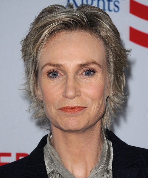 Jane Lynch Short Straight Casual    Hairstyle   - Dark Ash Blonde Hair Color with Light Blonde Highlights