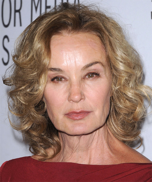 Jessica Lange Medium Curly Casual  Shag  Hairstyle   - Dark Honey Blonde Hair Color
