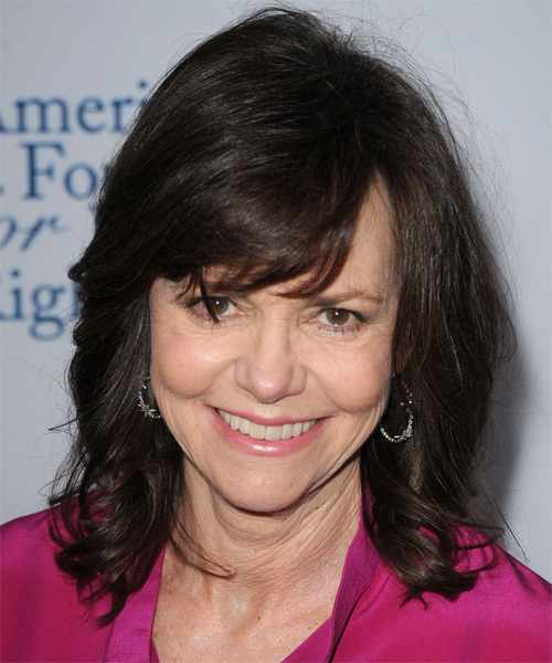 Sally Field Medium Wavy Casual   Hairstyle with Side Swept Bangs  - Black