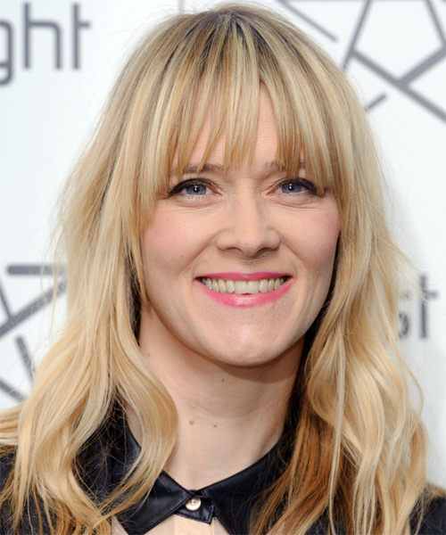 Edith Bowman  Long Straight Casual   Hairstyle with Blunt Cut Bangs  - Light Blonde (Champagne)