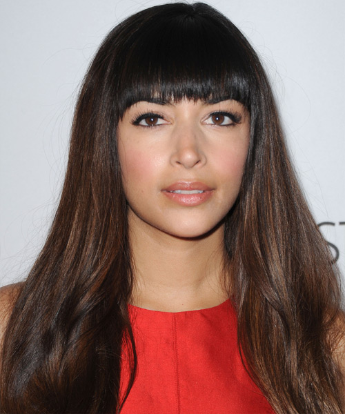 Hannah Simone Long Straight Formal   Hairstyle with Blunt Cut Bangs  - Dark Brunette