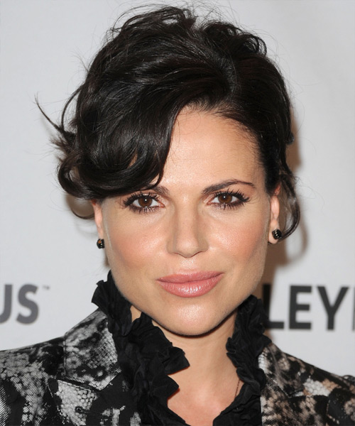 Lana Parrilla Updo Long Curly Formal Wedding Updo Hairstyle with Side Swept Bangs  - Black
