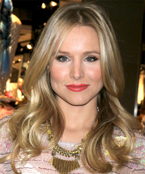Kristen Bell Long Straight    Ash Blonde   Hairstyle   with Light Blonde Highlights