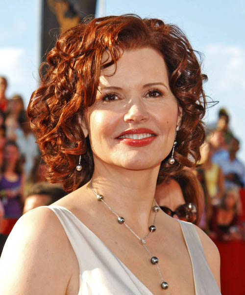 Geena Davis Medium Curly Formal    Hairstyle