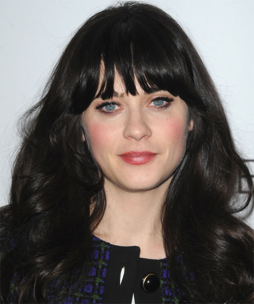 Zooey Deschanel Long Wavy Casual   Hairstyle with Blunt Cut Bangs  - Black