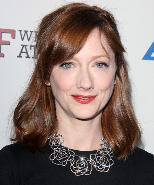 Judy Greer Medium Straight    Auburn Brunette   Hairstyle with Side Swept Bangs