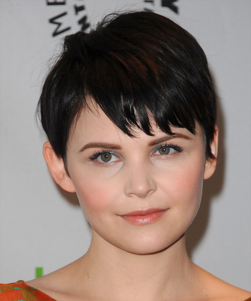 Ginnifer Goodwin Short Straight Casual Pixie  Hairstyle with Layered Bangs  - Black