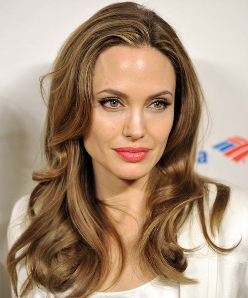 Angelina Jolie Long Wavy Casual    Hairstyle   -  Caramel Brunette Hair Color with  Blonde Highlights