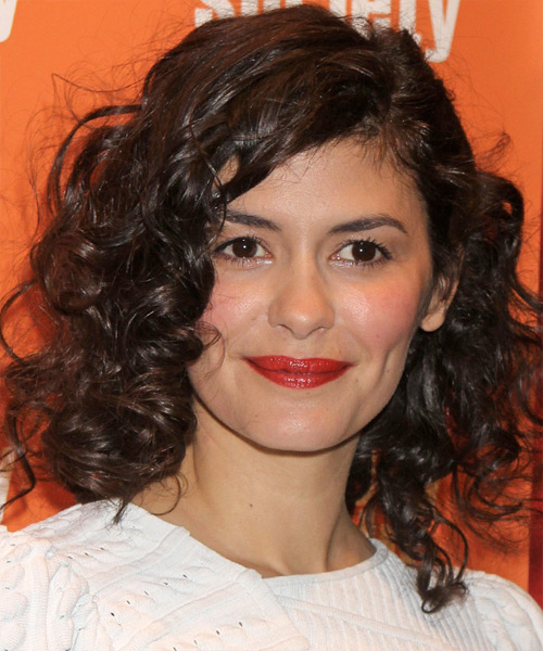 Audrey Tautou  Medium Curly Casual    Hairstyle   -  Chocolate Brunette Hair Color