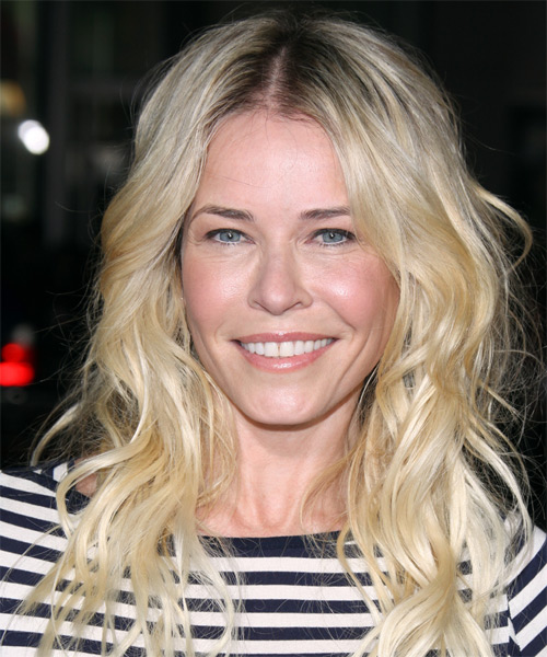 Chelsea Handler Long Wavy Casual    Hairstyle   - Light Blonde Hair Color