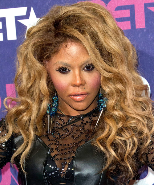 Lil Kim Long Wavy    Golden Brunette   Hairstyle   with Light Brunette Highlights