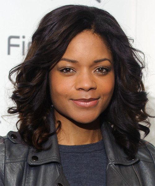 Naomie Harris Medium Wavy Casual   Hairstyle   - Black