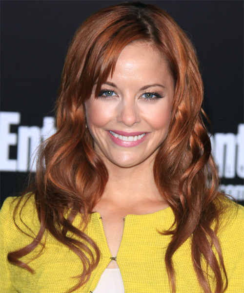 Amy Paffrath  Long Wavy Casual   Hairstyle with Side Swept Bangs  - Medium Brunette (Copper)