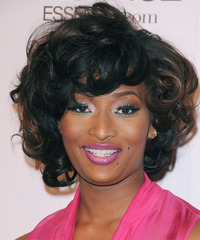 Toccara Jones Short Curly Formal    Hairstyle with Layered Bangs  - Black  Hair Color with  Brunette Highlights