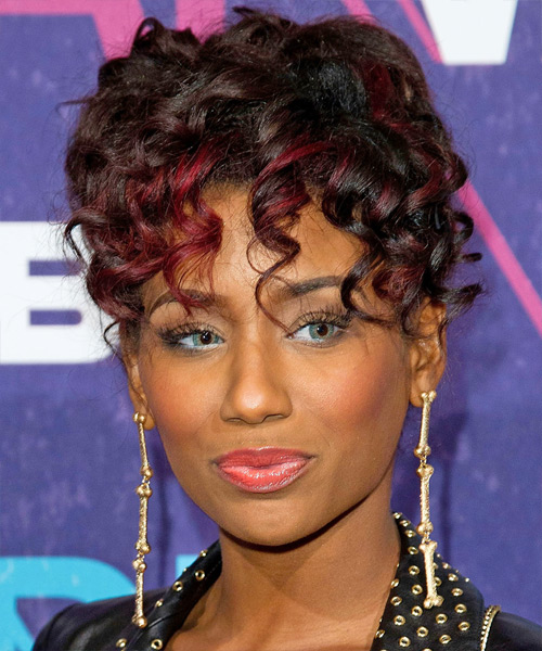 Guyana  Long Curly Casual   Updo Hairstyle with Layered Bangs  - Dark Brunette Hair Color with  Red Highlights