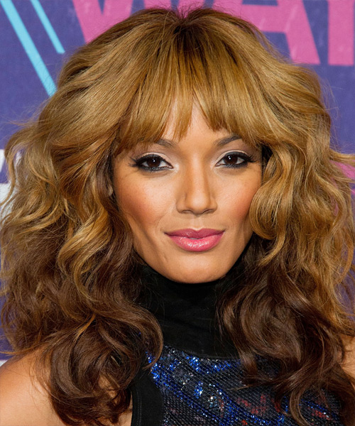 Selita Ebanks Long Curly Casual    Hairstyle with Layered Bangs  - Light Golden Brunette and Dark Brunette Two-Tone Hair Color