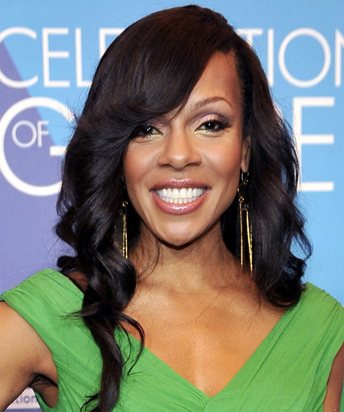 Wendy Raquel Robinson Long Wavy Formal   Hairstyle with Side Swept Bangs  - Black
