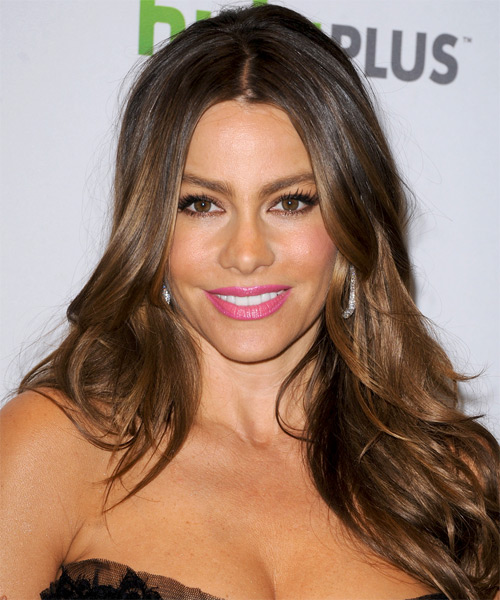 Sofia Vergara Long Straight    Chestnut Brunette   Hairstyle   with Light Brunette Highlights