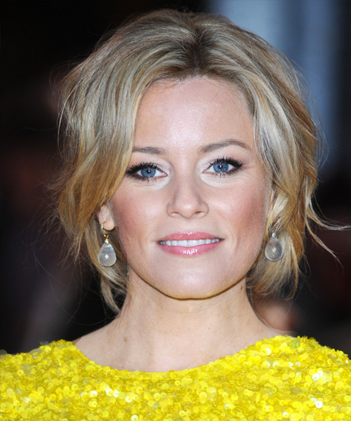 Elizabeth Banks  Medium Curly    Blonde  Updo    with Light Blonde Highlights