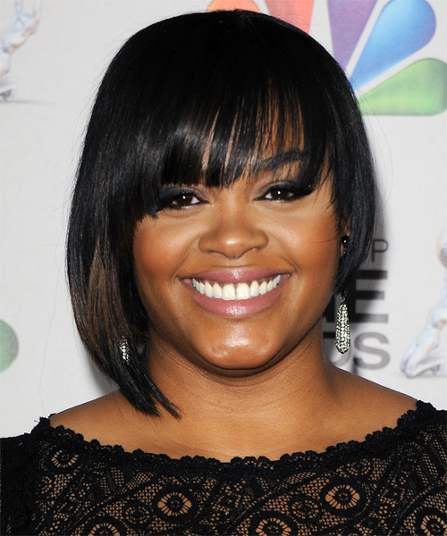 Jill Scott Short Straight   Black  Bob  Haircut with Layered Bangs  and  Brunette Highlights