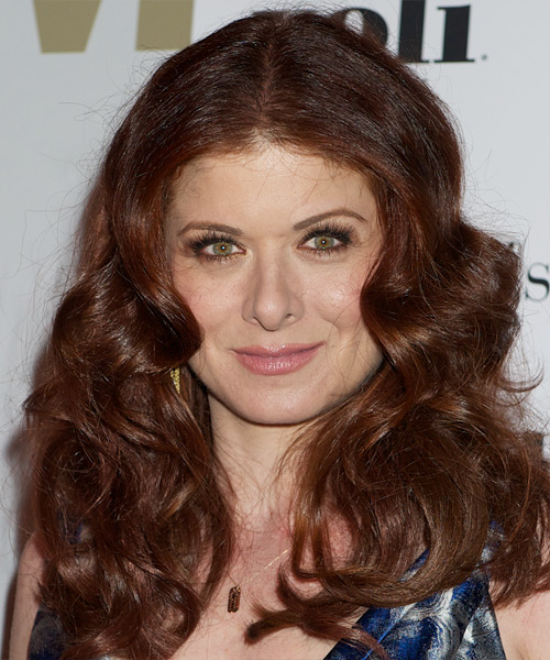 Debra Messing Long Wavy Casual    Hairstyle   - Dark Auburn Red Hair Color