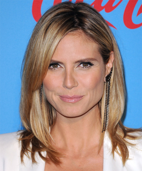 Heidi Klum Medium Straight   Dark Golden Blonde   Hairstyle with Side Swept Bangs