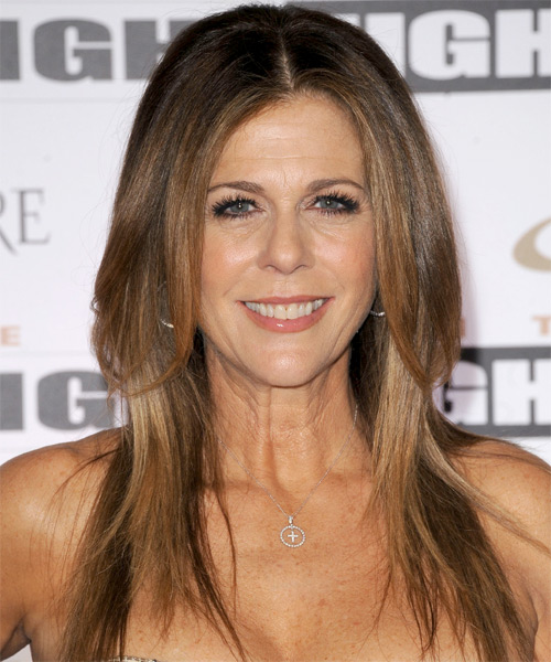 Rita Wilson Long Straight Formal   Hairstyle   - Medium Brunette