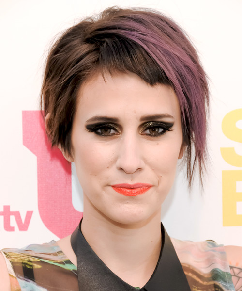 Dev Short Straight Alternative    Hairstyle with Razor Cut Bangs  - Dark Brunette and Purple Two-Tone Hair Color