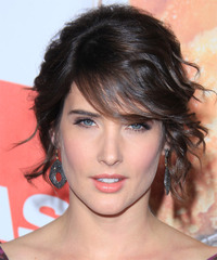 Cobie Smulders  Long Curly Formal   Updo Hairstyle with Side Swept Bangs  - Dark Brunette Hair Color